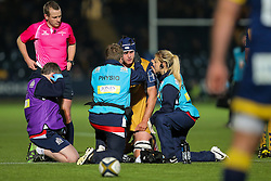 John Hawkins of Bristol Rugby is treated - Rogan Thomson/JMP - 04/11/2016 - RUGBY UNION - Sixways Stadium - Worcester, England - Worcester Warriors v Bristol Rugby - The Anglo Welsh Cup.