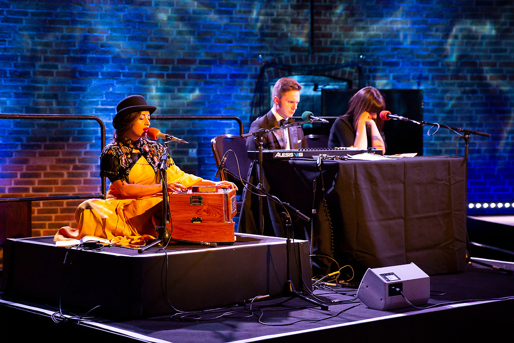 Spitalfield's Music's Shapla Salique, Katherine Manley and James McVinnie perform at the RPS Music Awards- Wednesday 9 May<br /> Winner of the RPS Music Award for Chamber Music and Song for Schumann Street<br /> Photo credit required:  Simon Jay Price<br /> www.rpsmusicawards.com  #RPSMusicAwards