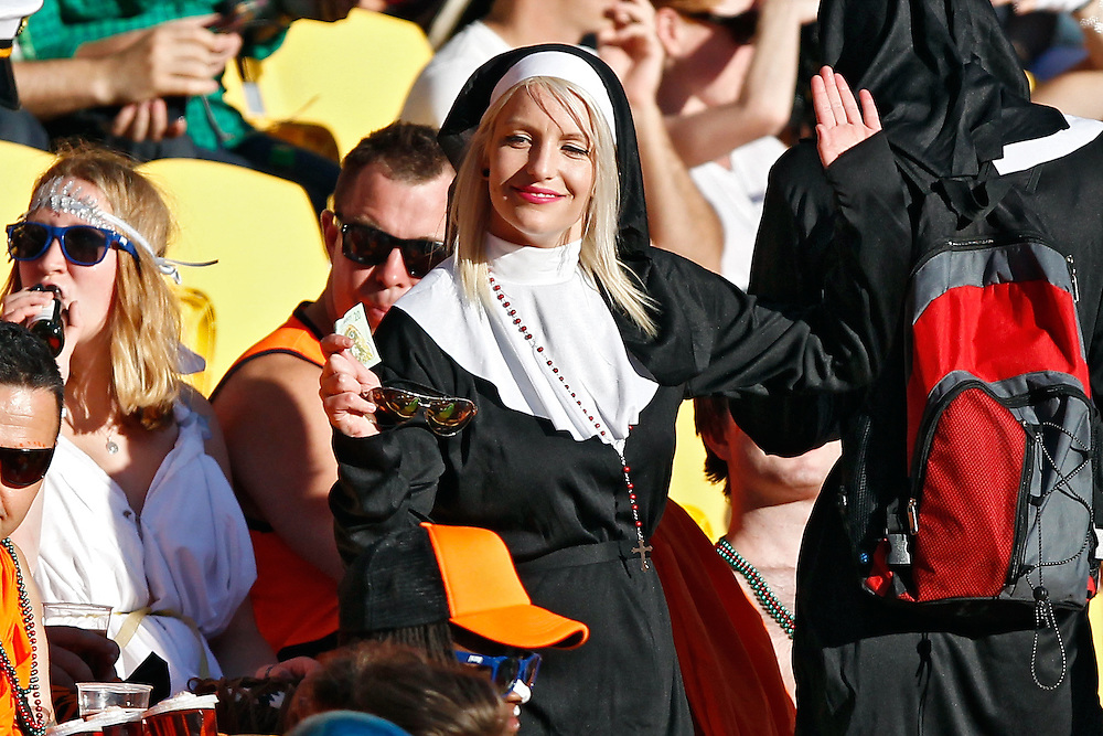 Fans enjoy the atmosphere at the IRB International Rugby Sevens Tournament at Westpac Stadium, Wellington, New Zealand, Friday, February 06, 2015. Credit: SNPA / Dean Pemberton