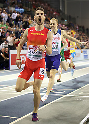 Spain's Alvaro de Arriba wins gold at the Men's 800m Finals during day three of the European Indoor Athletics Championships at the Emirates Arena, Glasgow.