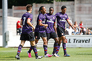 Picture by David Horn/Focus Images Ltd. 07545 970036.04/08/12.Arsenal players celebrate their third goal against Chesham United during a friendly match at The Meadow, Chesham.