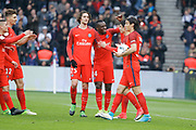 Edinson Roberto Paulo Cavani Gomez (psg) (El Matador) (El Botija) (Florestan) scored a goal from the ball of Goncalo Guedes (PSG) and celebrated with him, Blaise Mathuidi (psg), Adrien Rabiot (psg) during the French championship Ligue 1 football match between Paris Saint-Germain (PSG) and Bastia on May 6, 2017 at Parc des Princes Stadium in Paris, France - Photo Stephane Allaman / ProSportsImages / DPPI