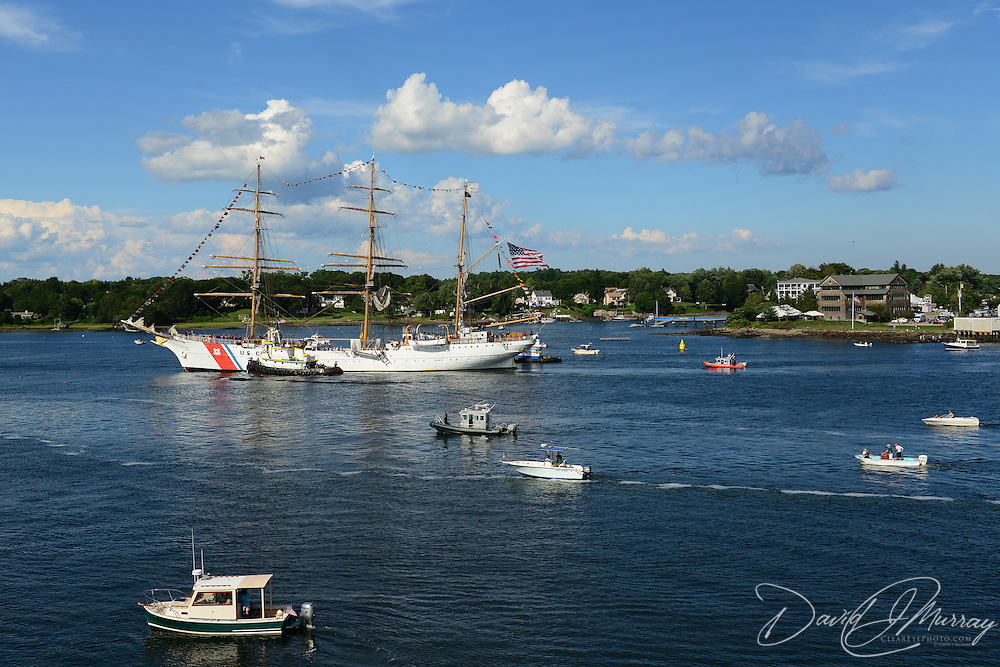 The U.S. Coast Guard Eagle sails into Portsmouth Harbor on August 2, 2013, to participate in Sail Portsmouth, hosted by the Piscataqua Maritime Commission.Badgers Island and Kittery, ME are in the background.