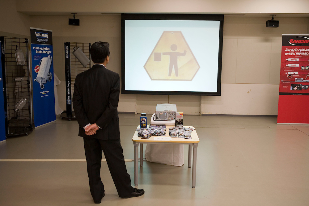 Tenneco product display at  toyota HQ toyota city center.viewing   tenneco products by Toyota  engineers and  executives.