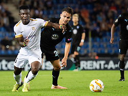 September 20, 2018 - Genk, Belgien - 180920 Joseph Aidoo of Genk and Andreas Vindheim of Malmö FF competes for the ball during the Europa League group stage match between Genk and Malmö FF on September 20, 2018 in Genk..Photo: Ludvig Thunman / BILDBYRÃ…N / kod LT / 35538 (Credit Image: © Ludvig Thunman/Bildbyran via ZUMA Press)