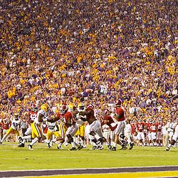 November 3, 2012; Baton Rouge, LA, USA;  Alabama Crimson Tide quarterback AJ McCarron (10) throws a pass against the LSU Tigers during the first half of a game at Tiger Stadium.  Mandatory Credit: Derick E. Hingle-US PRESSWIRE