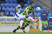 Forest Green Rovers defender Aarran Racine (21) battles for possession with Chester midfielder Ryan Lloyd (21) during the Vanarama National League match between Chester and Forest Green Rovers at the Deva Stadium, Chester, United Kingdom on 3 September 2016. Photo by Alan Franklin.