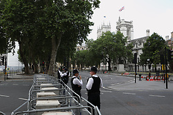 © Licensed to London News Pictures. 03/06/2019. London, UK. Roads around Parliament Square are closed off ahead ahead of US President Donald Trump's visit to Westminster Abbey during his State Visit to the United Kingdom. During his three days in the UK he will meet with members of the Royal family and outgoing Prime Minister Theresa May before attending 75th Anniversary of D-Day commemorations in Portsmouth and France. Photo credit: Peter Macdiarmid/LNP