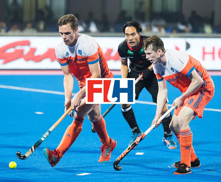 BHUBANESWAR - Mirco Pruyser (Ned)  en Seve van Ass (Ned) tijdens de Hockey World League Finals , de kwartfinale wedstrijd Duitsland-Nederland (3-3).Duitsland wint na shoot-outs.    COPYRIGHT KOEN SUYK