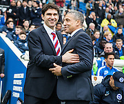 Middlesbrough FC Head Coach Aitor Karanka & Brighton Manager Chris Hughton during the Sky Bet Championship match between Brighton and Hove Albion and Middlesbrough at the American Express Community Stadium, Brighton and Hove, England on 19 December 2015. Photo by Bennett Dean.
