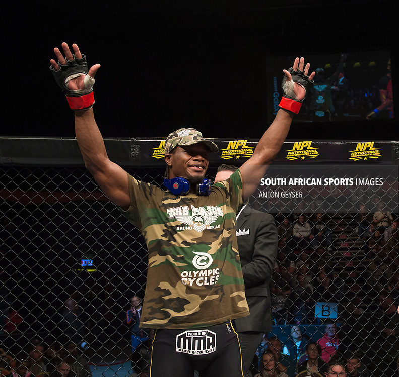 JOHANNESBURG, SOUTH AFRICA - MAY 13: Bruno Mukulu celebrates after defeating Niel du Plessis during EFC 59 Fight Night at Carnival City on May 13, 2017 in Johannesburg, South Africa. (Photo by Anton Geyser/EFC Worldwide/Gallo Images)