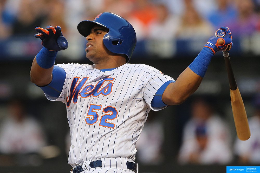NEW YORK, NEW YORK - May 31:  Yoenis Cespedes #52 of the New York Mets batting during the Chicago White Sox Vs New York Mets regular season MLB game at Citi Field on May 31, 2016 in New York City. (Photo by Tim Clayton/Corbis via Getty Images)