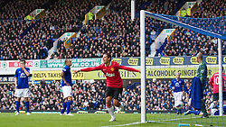 29.10.2011, Goodison Park, Liverpool, ENG, PL, Everton FC vs Manchester United FC, im Bild Manchester United's Javier Hernandez celebrates scoring the first goal against Everton during the Premiership match at Goodison Park // during FA Premiere League Football match between Everton and vs Manchester United FC at Goodison Park, Liverpool, United Kingdom on 29/10/2011. EXPA Pictures © 2011, PhotoCredit: EXPA/ Propaganda Photo/ Vegard Grott +++++ ATTENTION - OUT OF ENGLAND/GBR+++++
