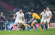 Twickenham, Great Britain, Tom WOODS with the ball facing Adam ASHLEY-COOPER, during the Pool A game, England vs Australia.  2015 Rugby World Cup, Venue, RFU Stadium, Twickenham, Surrey, ENGLAND.  Saturday  03/10/2015<br /> Mandatory Credit; Peter Spurrier/Intersport-images]