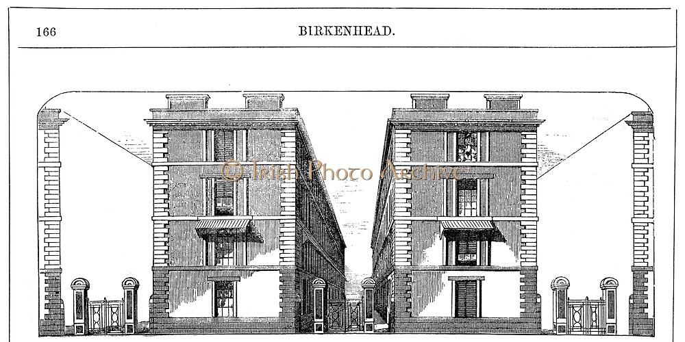 Low rental workmen's dwellings built by Birkenhead Dock Co. c1844: Architect CE. Lang. Avenue of dwellings. Each block was 3 'houses' of 4 floors, each divided into 2 dwellings of living room, 2 bedrooms, washroom/scullery. Wood engraving c1860