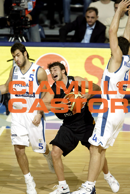 DESCRIZIONE : Belgrado Belgrade Eurobasket Men 2005 Grecia Germania Finale<br /> GIOCATORE : Demirel<br /> SQUADRA : Germania Germany<br /> EVENTO : Eurobasket Men 2005 Campionati Europei Uomini 2005<br /> GARA : Grecia Germania Greece Germany<br /> DATA : 25/09/2005<br /> CATEGORIA :<br /> SPORT : Pallacanestro<br /> AUTORE : Ciamillo&amp;Castoria/Fiba Europe Pool
