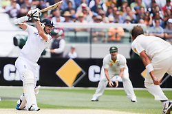 © Licensed to London News Pictures. 27/12/2013. James Anderson batting during Day 2 of the Ashes Boxing Day Test Match between Australia Vs England at the MCG on 27 December, 2013 in Melbourne, Australia. Photo credit : Asanka Brendon Ratnayake/LNP