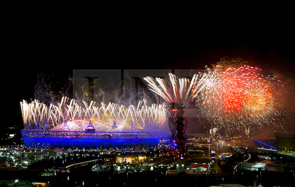© Licensed to London News Pictures.09/09/2012 LONDON UK.Fireworks mark the Climax of the celebrations of the closing ceremony of the London2012 Paralympic Games. Which included performances by Coldplay, Jay-z and Rhianna. Photo credit : Andrew Baker/LNP