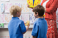 Schoolboys Learning to Tell Time