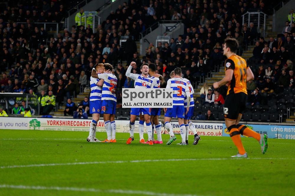 Reading and Chris Gunter celebrate during Hull City v Reading, SkyBet Championship, Wednesday 16th December 2015, KC Stadium, Hull