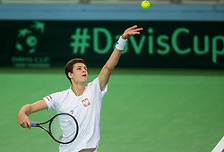 Hubert Hurkacz of Poland  during the Day 1 of Davis Cup 2018 Europe/Africa zone Group II between Slovenia and Poland, on February 3, 2018 in Arena Lukna, Maribor, Slovenia. Photo by Vid Ponikvar / Sportida