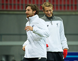 KAZAN, RUSSIA - Wednesday, November 4, 2015: Liverpool's Joe Allen and Lucas Leiva training at the Kazan Arena ahead of the UEFA Europa League Group Stage Group B match against FC Rubin Kazan. (Pic by Oleg Nikishin/Propaganda)
