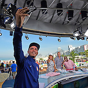 The Monday after the Men's golf competition ended, the Team USA guys made a quick visit to the Today show set on Ipenima Beach. As we were walking off the set, Rickie grabbed a quick selfie with the hosts Hoda Kotbe, Matt Lauer and Al Roker.<br /> <br /> <br /> RIO DE JANEIRO, BRAZIL - AUGUST 15:  The Unites States team visits the set of the Today show in Copacaban Beach on August 14, 2016 in Rio de Janeiro, Brazil. (Photo by Chris Condon/PGA TOUR/IGF)