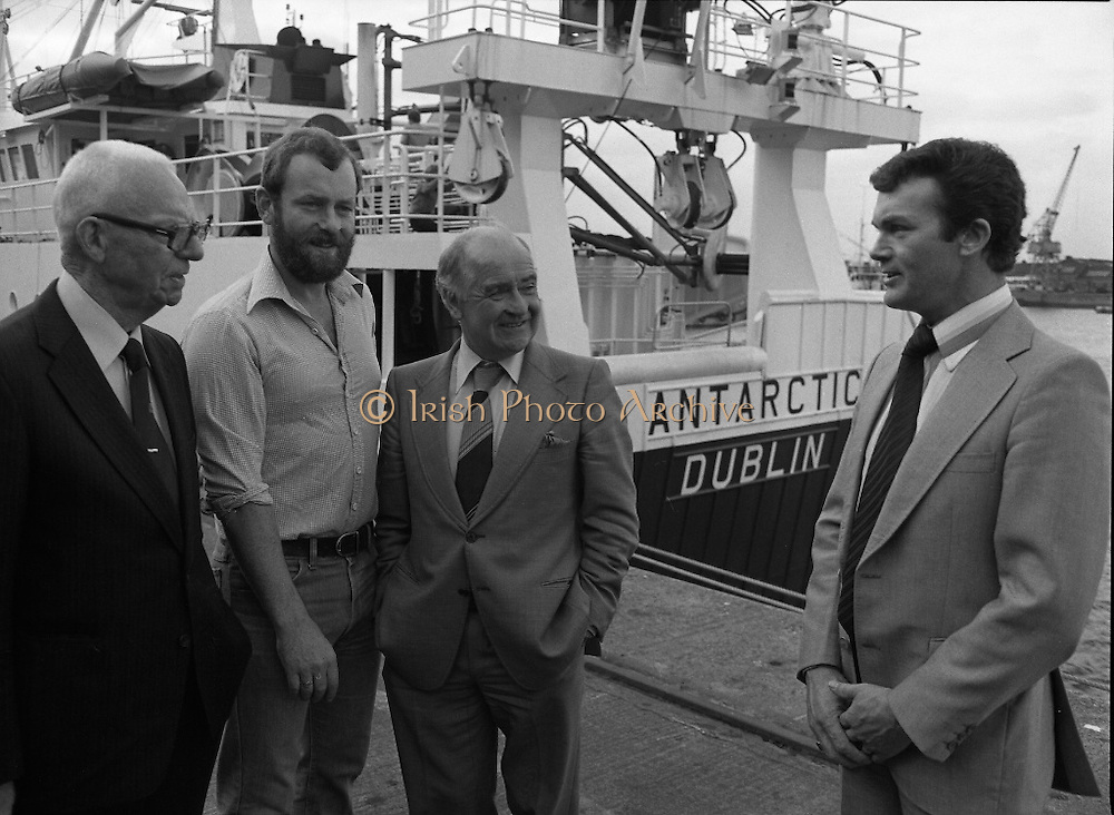 """Super Trawler """"Antarctic"""".    (N44)..1980..02.10.1980..10.02.1980..2nd October 1980..The first of five super-trawlers for Ireland, The Antarctic, for Kevin McHugh,an Achaill Islander,arrived in Dublin today.The vessel whch cost over £2million marks the beginning of a middle water fleet for Ireland..Image shows Michael McHugh, Chairman, Irish Fish Producers Organisation,Mr Brendan O'Kelly, Chairman, Bórd Iascaigh Mhara and the skipper of 'Antarctic' Kevin McHugh..Unfortunately we do not have the name of the bearded gentleman if you know him why not contact us at"""