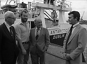 "Super Trawler ""Antarctic"".    (N44)..1980..02.10.1980..10.02.1980..2nd October 1980..The first of five super-trawlers for Ireland, The Antarctic, for Kevin McHugh,an Achaill Islander,arrived in Dublin today.The vessel whch cost over £2million marks the beginning of a middle water fleet for Ireland..Image shows Michael McHugh, Chairman, Irish Fish Producers Organisation,Mr Brendan O'Kelly, Chairman, Bórd Iascaigh Mhara and the skipper of 'Antarctic' Kevin McHugh..Unfortunately we do not have the name of the bearded gentleman if you know him why not contact us at"