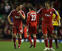 Photo: Paul Thomas.<br /> Liverpool v Arsenal. Carling Cup. 09/01/2007.<br /> <br /> Dejected Xabi Alonso (L) and Fabio Aurelio of Liverpool at full-time.