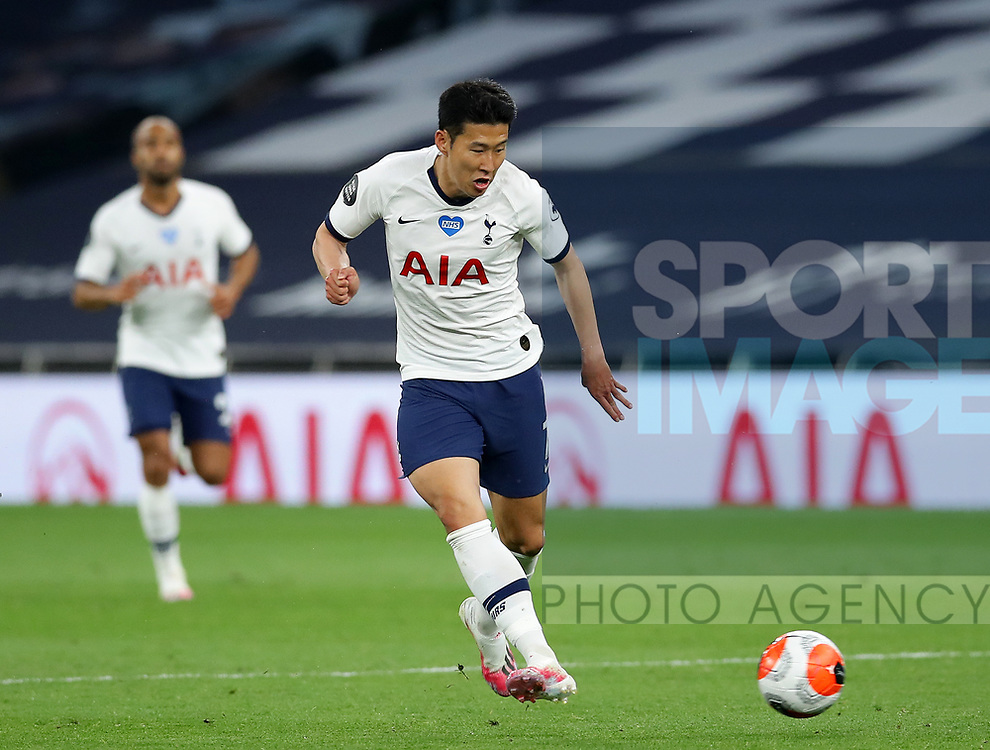 Tottenham's Son Heung-min during the Premier League match at the Tottenham Hotspur Stadium, London. Picture date: 23rd June 2020. Picture credit should read: David Klein/Sportimage