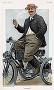Albert, Comte De Dion (1855-1946) French engineer. With Bouton developed lightweight engine applied to motorcycles.'Vanity Fair' cartoon, London, October 1899, showing De Dion on motorcycle.