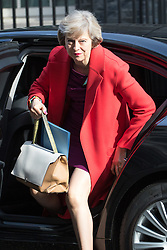 Downing Street, London, April 12th 2016. Home Secretary Theresa May arrives at the weekly cabinet meeting. &copy;Paul Davey<br /> FOR LICENCING CONTACT: Paul Davey +44 (0) 7966 016 296 paul@pauldaveycreative.co.uk