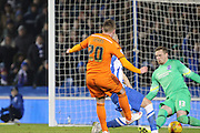 Ipswich's Freddie Sears puts the ball past Brighton's David Stockdale  during the Sky Bet Championship match between Brighton and Hove Albion and Ipswich Town at the American Express Community Stadium, Brighton and Hove, England on 21 January 2015.