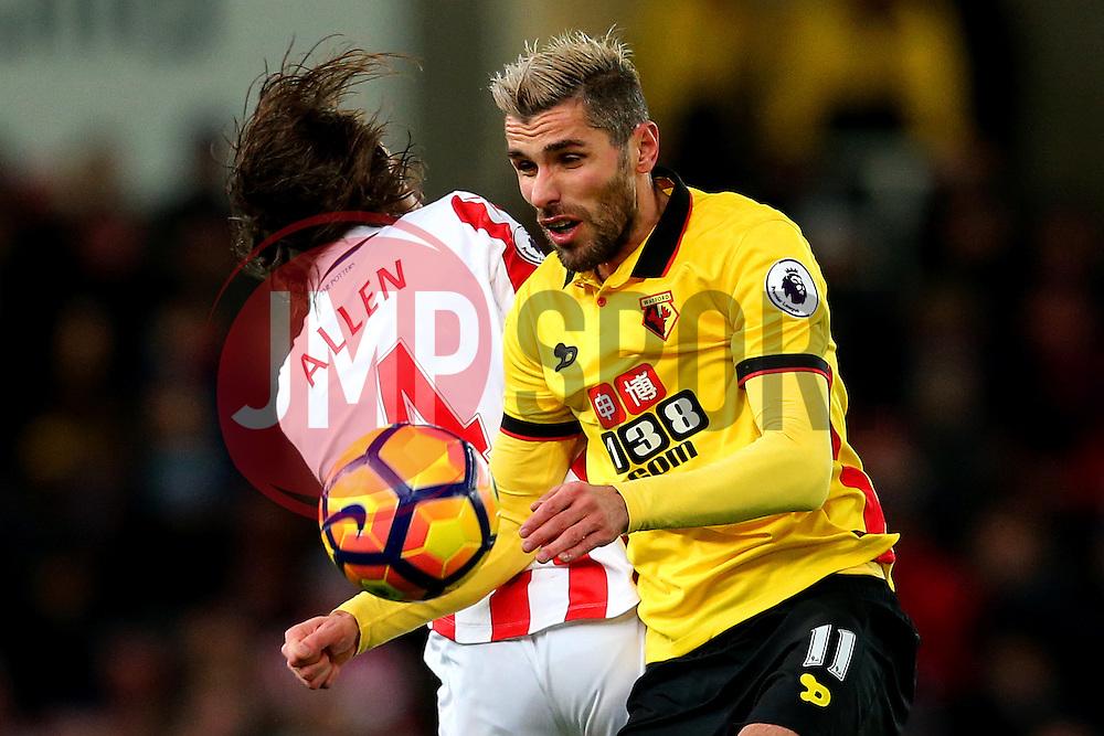 Valon Behrami of Watford challenges Joe Allen of Stoke City - Mandatory by-line: Matt McNulty/JMP - 03/01/2017 - FOOTBALL - Bet365 Stadium - Stoke-on-Trent, England - Stoke City v Watford - Premier League