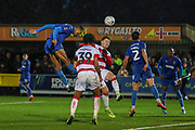 AFC Wimbledon defender Terell Thomas (6) winning header in the box during the The FA Cup match between AFC Wimbledon and Doncaster Rovers at the Cherry Red Records Stadium, Kingston, England on 9 November 2019.