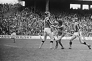 Kilkenny standing tall blocking Tipperary from getting towards the goal during the All Ireland Minor Hurling Final, Tipperary v Kilkenny in Croke Park on the 5th September 1976.