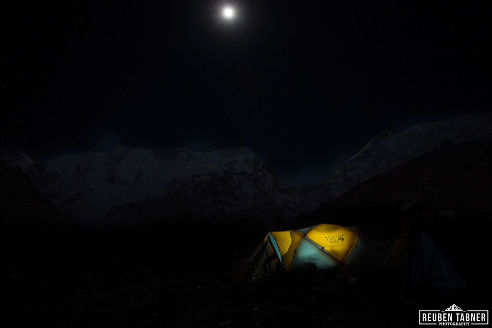 The moon rises above tents at Island Peak Base Camp (4970m).