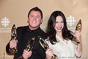 Maxime Landry et Marie Mai, gagnants d'un des 11 trophées Félix remis le 7 novembre 2010, lors de la 32e édition du Gala de l'ADISQ -  Theatre Saint-Denis / Montreal / Canada / 2010-11-07, © Photo Marc Gibert/ adecom.ca