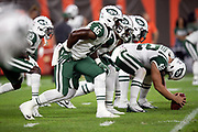 The New York Jets offensive line gets set at the line of scrimmage during the 2018 NFL regular season week 3 football game against the Cleveland Browns on Thursday, Sept. 20, 2018 in Cleveland. The Browns won the game 21-17. (©Paul Anthony Spinelli)