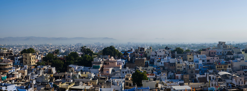 UDAIPUR, INDIA - CIRCA NOVEMBER 2016:  Panoramic view of Udaipur