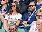 WIMBLEDON - UK - 27th June 2016: The Wimbledon Tennis Championships start at the All England Lawn Tennis Club, Wimbledon. S.E. London.<br /> <br /> Pic shows.;  Novak Djokovic (Serbia) plays James Ward (GB) watched by Pippa Middleton ( sister of Kate Middleton - HRH Duchess of Cambridge) with her brother James Middleton.<br /> ©Exclusivepix Media