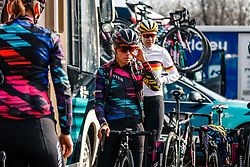 Riders of CANYON//SRAM Racing (GER) before the UCI Women's WorldTour Ronde van Drenthe at Hoogeveen, Drenthe, The Netherlands, 11 March 2017. Photo by Pim Nijland / PelotonPhotos.com | All photos usage must carry mandatory copyright credit (Peloton Photos | Pim Nijland)