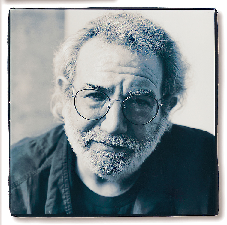 Jerry Garcia, rock legend of the Grateful Dead as photographed in Chicago, summer 1993, by Wayne Cable, Black & White toned print.