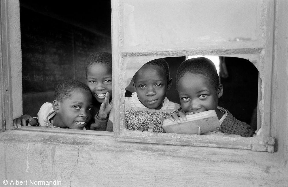 Group of students in classroom window