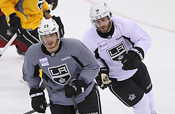 May 29; Newark, NJ, USA; Los Angeles Kings right wing Dustin Brown (23) and Los Angeles Kings center Mike Richards (10) during Stanley Cup Finals media practice day at the Prudential Center.