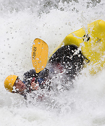 An unidentified whitewater kayaker powers their kayak through the rapids at Sweet's Falls on the Gauley River during American Whitewater's Gauley Fest weekend. The upper Gauley, located in the Gauley River National Recreation Area is considered one of premier whitewater rivers in the country.