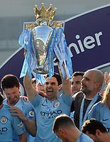 Football - 2018 / 2019 Premier League - Brighton & Hove Albion vs. Manchester City<br /> <br /> Man City coach Mikel Arteta  lifts the Premier league trophy, at The Amex.<br /> <br /> COLORSPORT/ANDREW COWIE