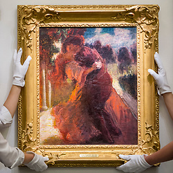 "© Licensed to London News Pictures. 16/11/2018. LONDON, UK. Technicians present ""Romeo and Juliet"", 1898-1900, by Roderic O'Conor (Est. GBP300,000-500,000). Preview of ""A Living Legacy"", the Irish Art Collection of Brian P. Burns, a collection spanning artists from the 18th century to the present day.  Over 100 works will be offered for sale on 21 November at Sotheby's in London.  Photo credit: Stephen Chung/LNP"