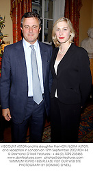 VISCOUNT ASTOR and his daughter the HON.FLORA ASTOR, at a reception in London on 17th September 2002.	PDH 44